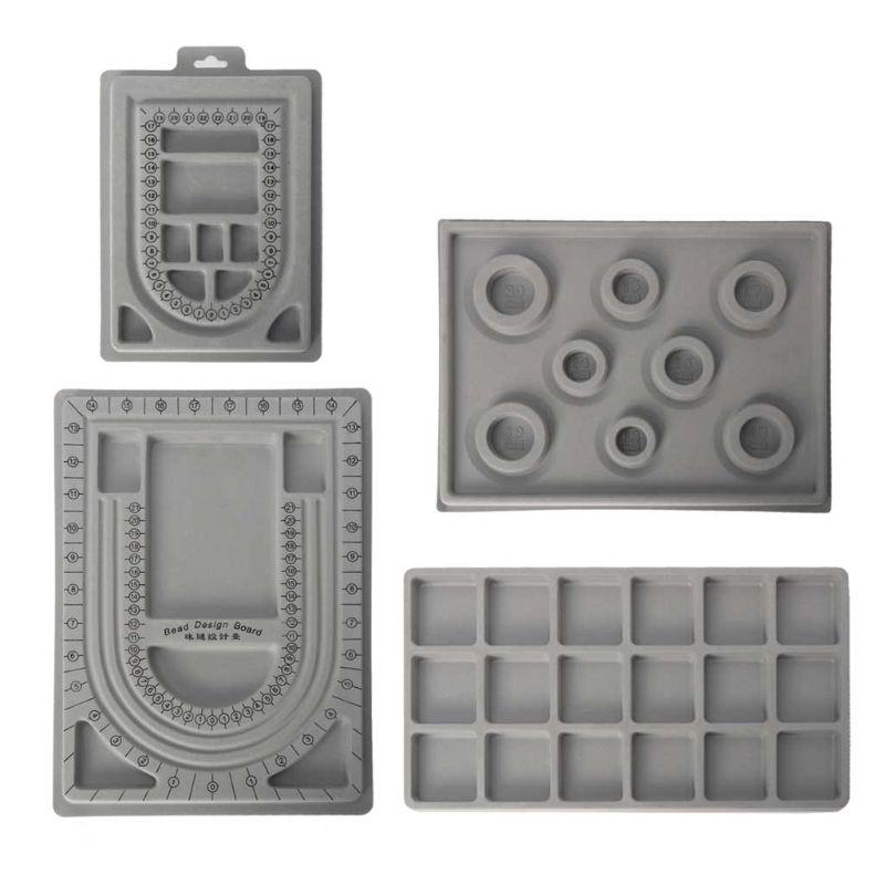 4Pcs Plastic Gray Flock Beads Tray Design Boards Kit DIY Beading Bracelet Jewelry Tools