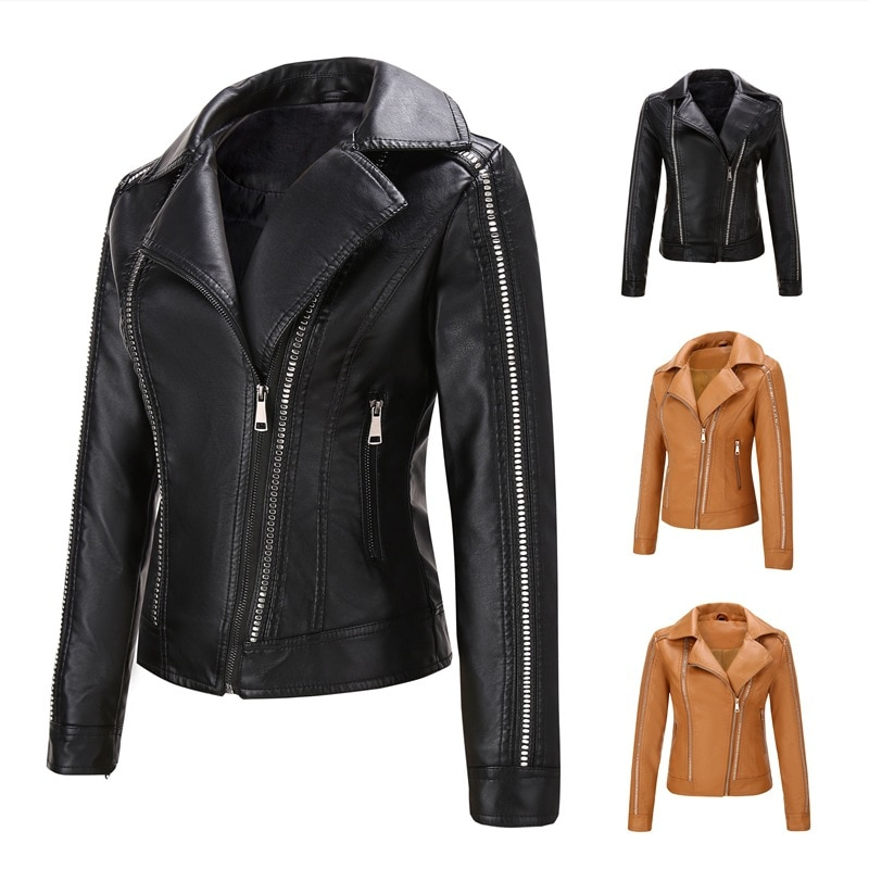 Spring and Autumn Women's Jacket PU Leather Women's Leather Coat European and American Popular Women's Coat Characteristic Rivet