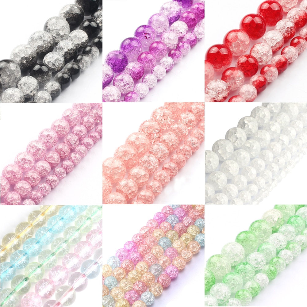 4 6 8 10 12mm Mixed Color Snow Cracked Crystal Bead Round Loose Cracked Quartz Beads For Jewelry Making DIY Bracelets Supplies