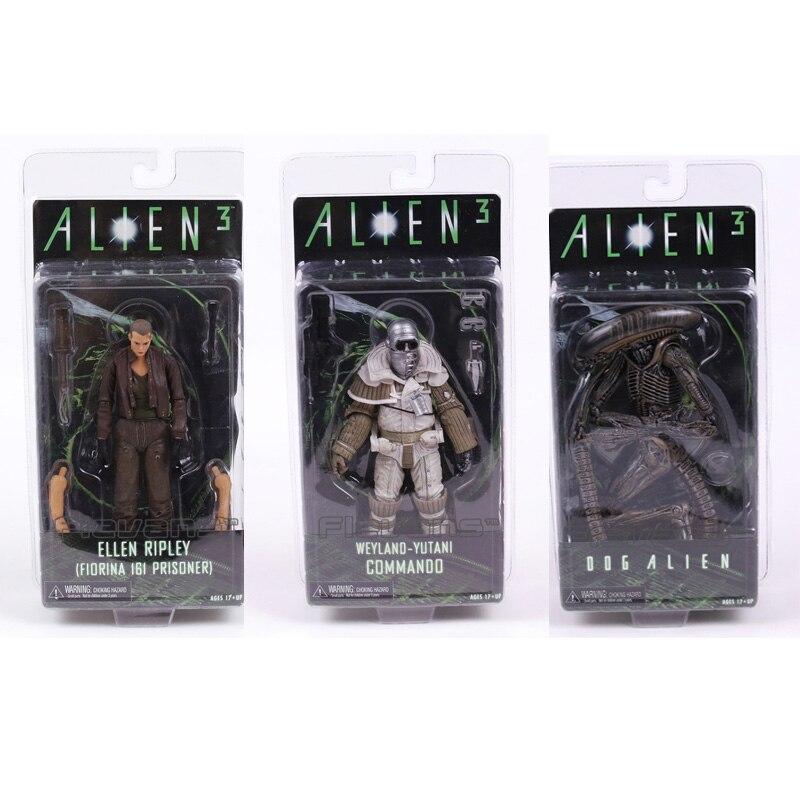 Neca alien 3 ellen ripley cão alienígena weyland yutani commando pvc figura de ação collectible modelo brinquedo