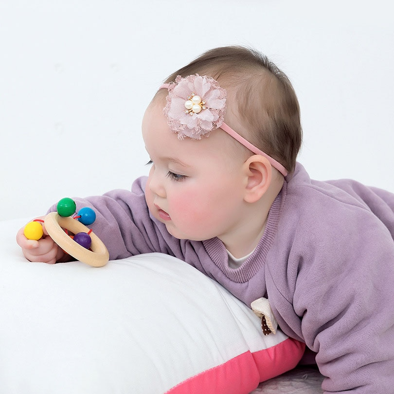 Childrens Super Soft Nylon Hair Accessories Fashion Baby Tulle Stitching Combination Flower Band Rope
