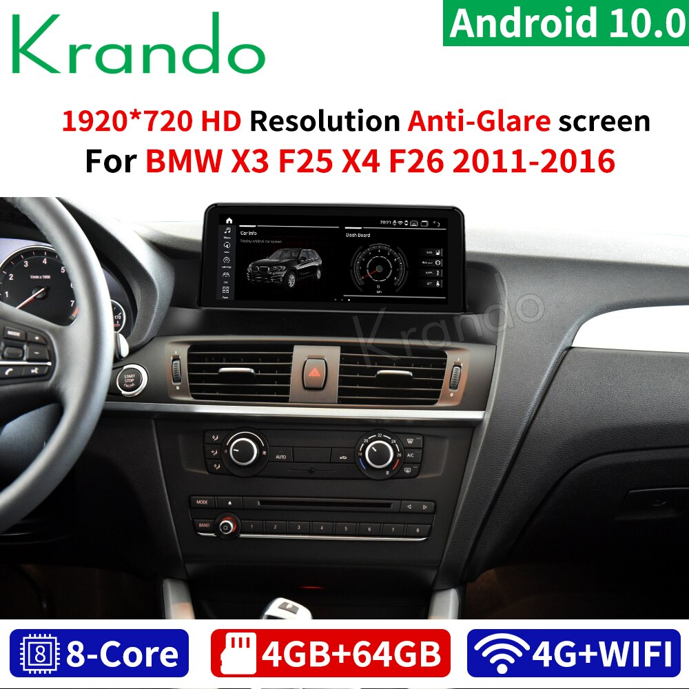 Krando Android 10,0 4G 64G GPS de Radio Multimedia para coche BMW X3 F25 / X4 F26 10,25-2011 NBT CIC, reproductor de Audio Navi WIFI