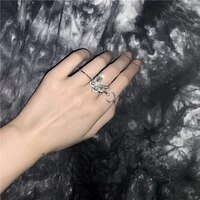 fashion women butterfly heart geoemtric rings jewelry pearl moon bowknot wedding female finger accessories dainty gifts 2021