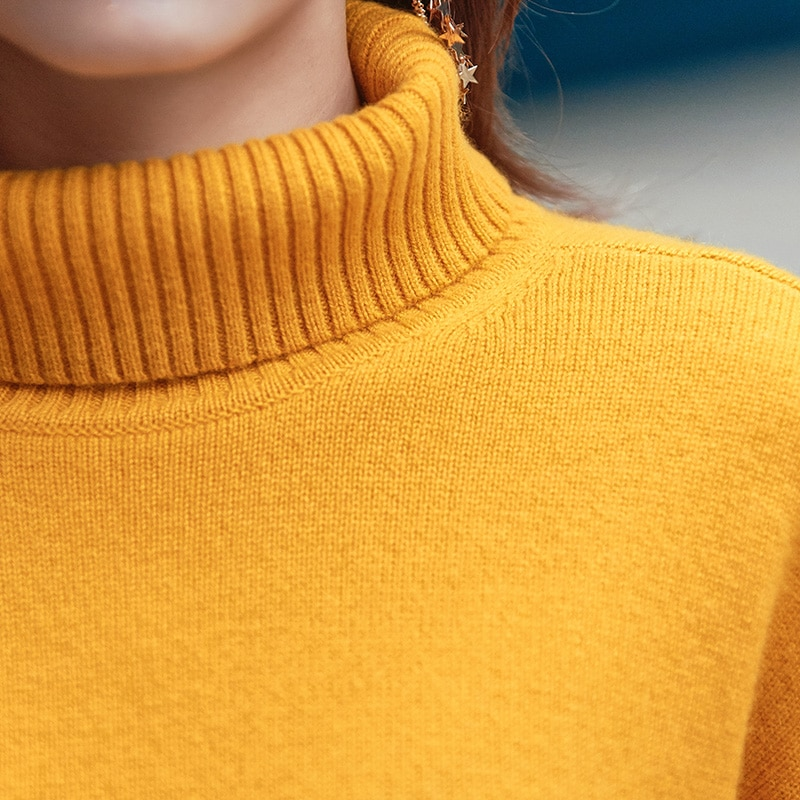 Tailor Shop Custom Made New Wool Loose Turtleneck Sweater Women Long-sleeved Pullover Cashmere Sweater enlarge