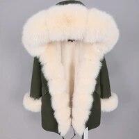 2021 new winter womens coat real fox fur collar long beige womens parka coat winter outdoor coat