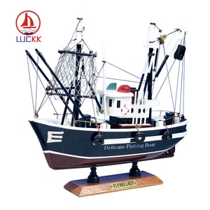 LUCKK Luxurious Sailboat Model America Style 24*9*23CM Wooden Sailboat Toys Sailing Model Home Decoration