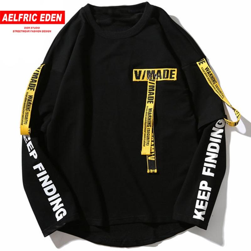 Aelfric Eden Hip Hop Pullover Sweatshirt Männer 2020 Casual Band Harajuku Sweatshirt T-shirt Baumwolle Langarm T Shirt Tops Tees
