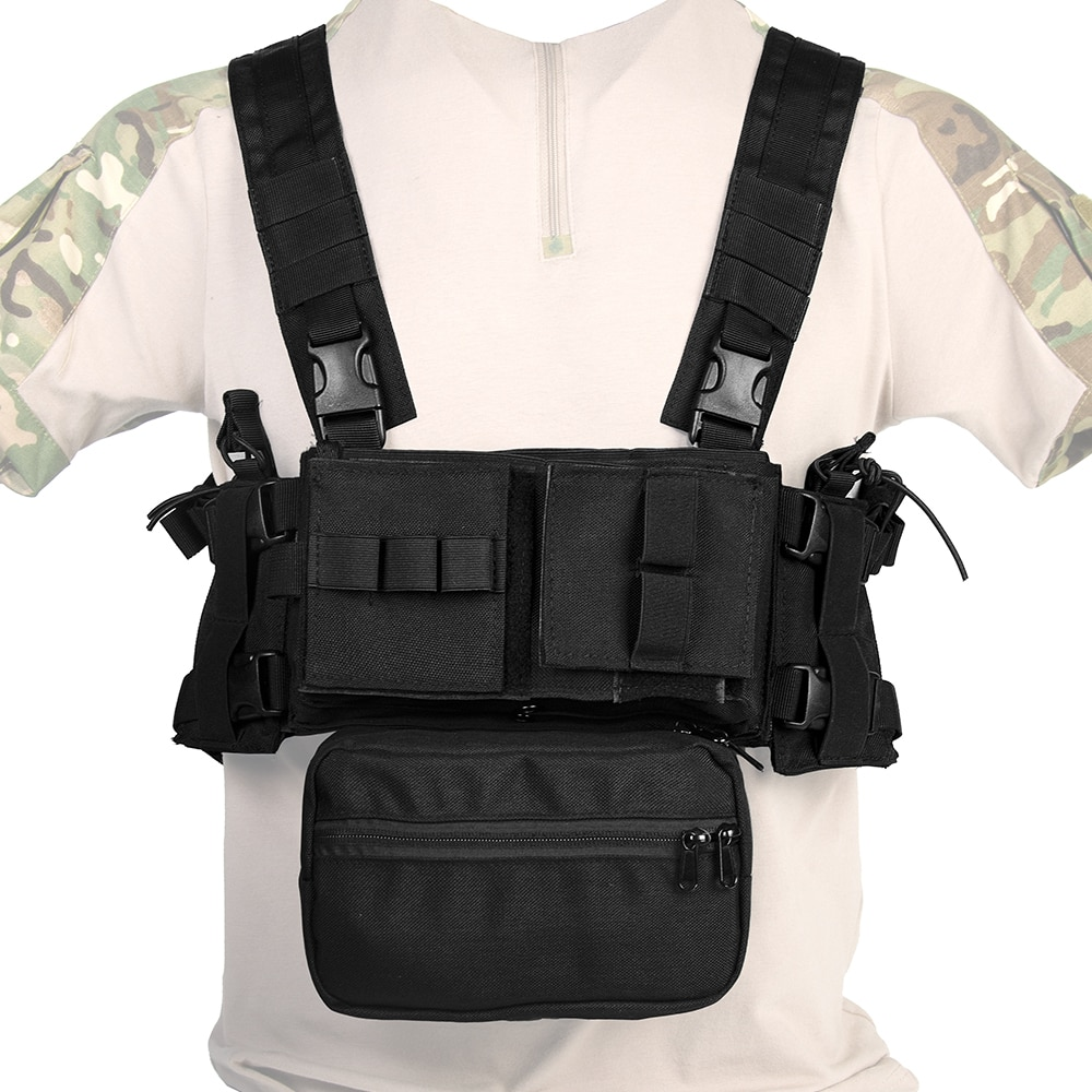 TACTIFANS MK3 Tactical Chest Rig Vest With SACK Pouch H Harness MOLLE System 5.56 Magazine Insert Nylon Paintball Accessories army tactical carrier armor chest rig vest harness rifle pistol magazine pouch crx hunting equipment accessories 5 56