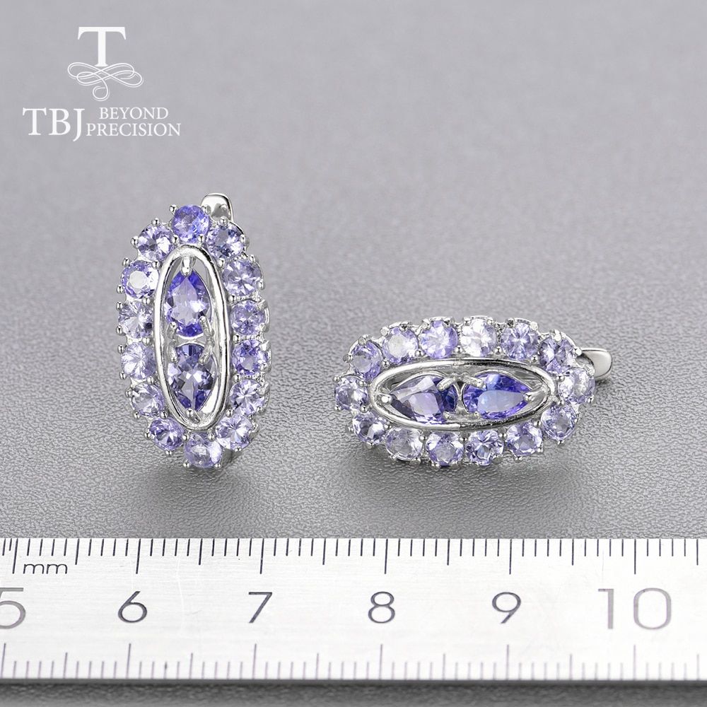 Natural light blue Tanzanite gemstone Jewelry set 925 sterling silver clasp earring Ring precious stone jewelry for women mom