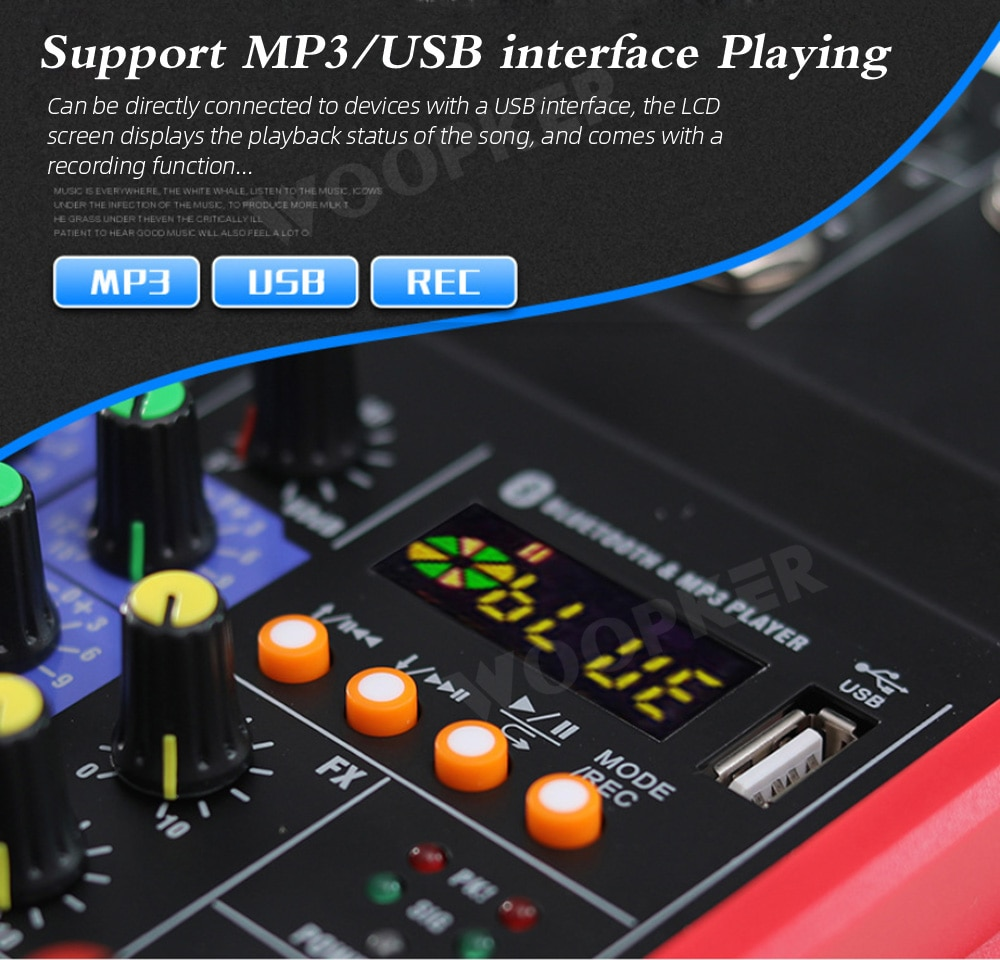 Audio DJ Mixer 4 Channels Console with Wireless Microphone Sound Mixing Bluetooth Karaoke Recording Studio enlarge