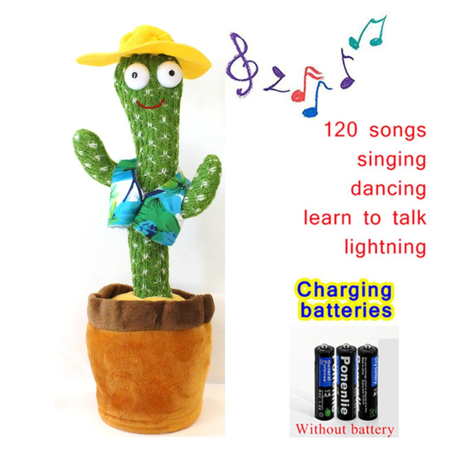 Cactus Plush Toy Electronic Shake Dancing Toy with 120 English Song Plush Cute Dancing Cactus Early Childhood Education Toy for