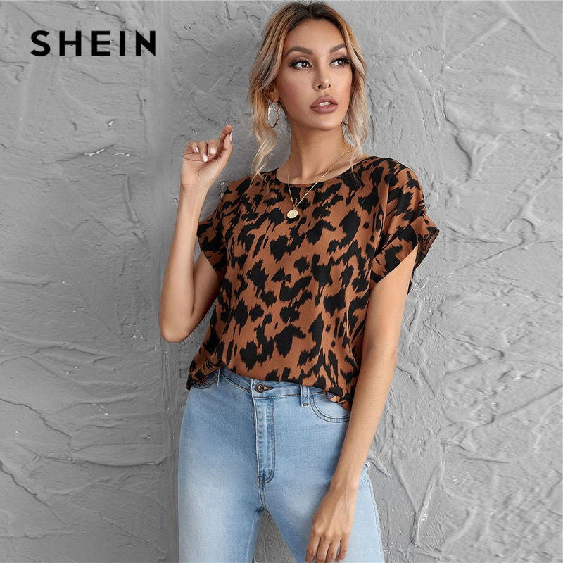 SHEIN Rolled Cuff All Over Print Top Summer Round Neck Batwing Short Sleeve Oversized Casual Womens Tops and Blouses