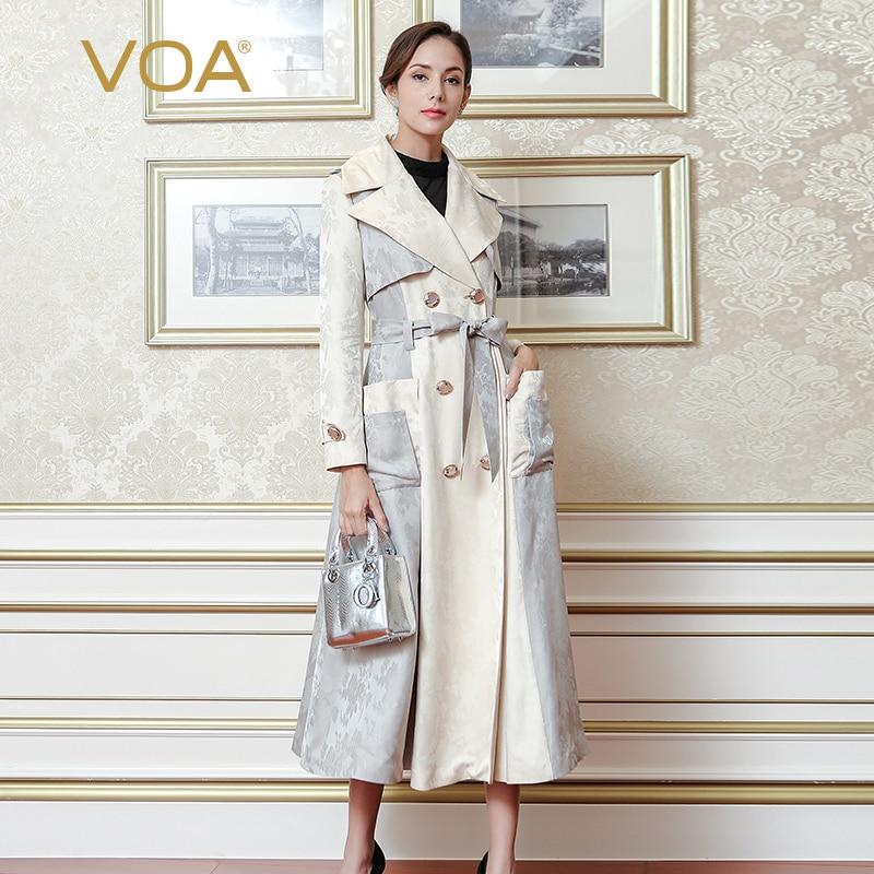 VOA أنيق كلاسيكي بيج حزام خندق معطف أنيق عالية الجودة الفاخرة الحرير المرأة معطف مزدوجة الصدر معطف الخريف FLX00801
