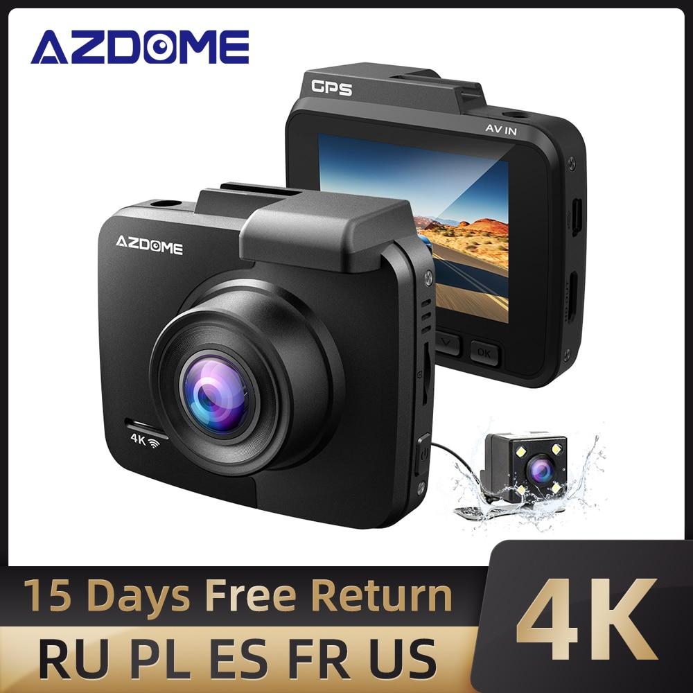 AZDOME-GS63H Dash Cam 4K GPS مدمج ، WiFi ، مسجل لوحة القيادة ، مع UHD 2160P ، شاشة LCD 2.4 بوصة ، WDR ، رؤية ليلية