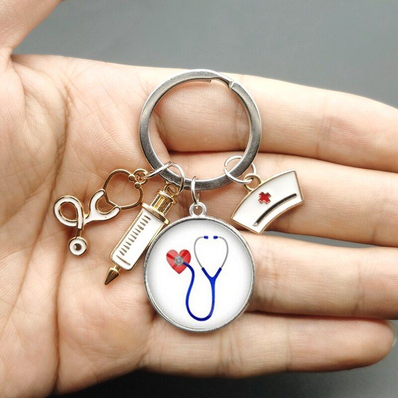 AliExpress - New Fashion Creative Nurse Medical Syringe Stethoscope Image Keychain Glass Cabochon and Glass Dome Key Ring Pendant Gift