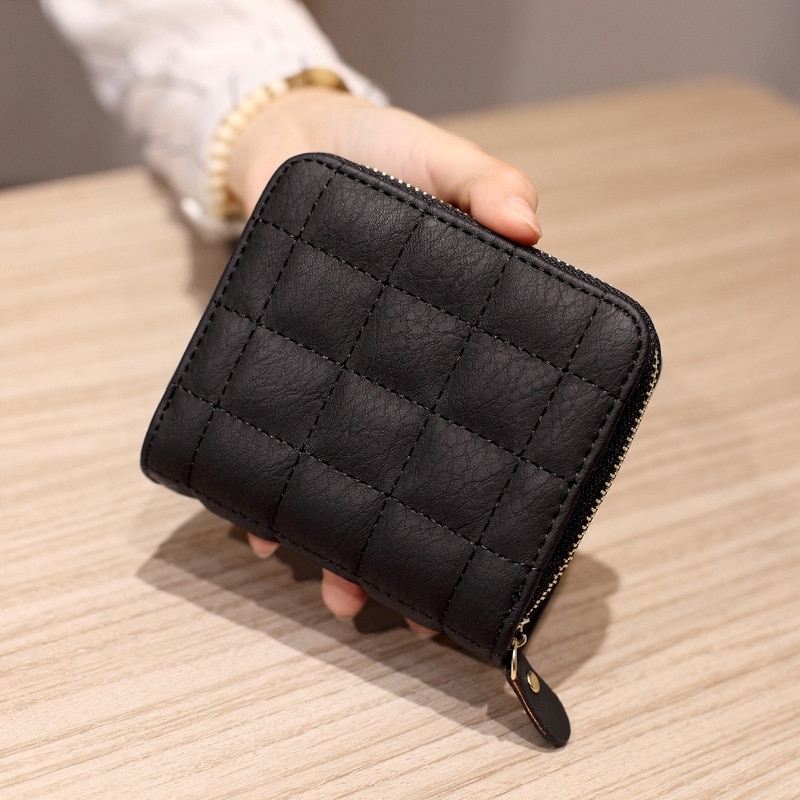 Women Short Wallets PU Leather Female Plaid Purses Nubuck Card Holder Wallet Fashion Woman Small Zip
