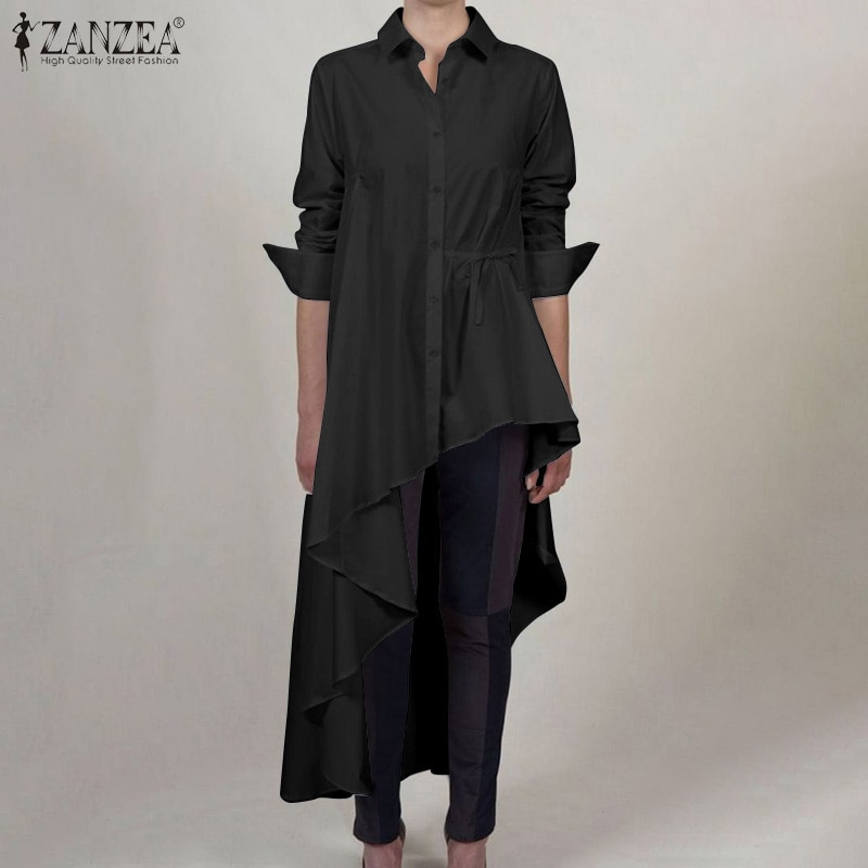 Moda zanzea primavera manga longa blusa feminina lapela alta baixa camisas festa sólida assimétrica túnica topos feminino chemise blusões