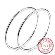 ผู้หญิง 100% 925 เงินสเตอร์ลิง Hoop ต่างหูรอบวงกลมของขวัญกล่องบรรจุ Simple Silver Hoop ต่างหูเจาะ