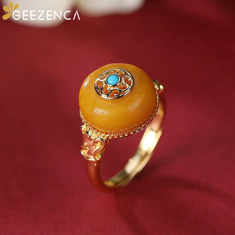 GEEZENCA 925 فضة مطلية بالذهب عنبر طبيعي محظوظ خواتم للنساء خمر المحكمة الصينية الفاخرة نمط فتح خواتم هدية