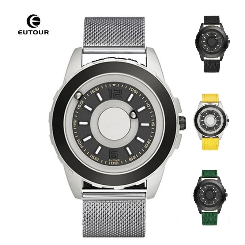 Pulseira de Couro de Silicone Relógio de Pulso dos Homens Relógio de Pulso Dropshipping Eutour Relógio Magnético Masculino Luxo Ímã Bola Quartzo Eua Europa