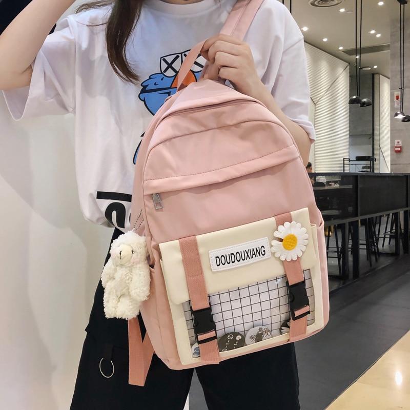 Cute female student backpack Women Flower Female Harajuku School Bags Waterproof nylon Kawaii Backpack Ladies Book bag