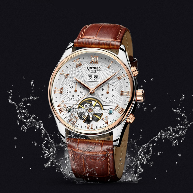 KINYUED-ساعة رجالية أوتوماتيكية متعددة الوظائف ، ساعة رجالية ميكانيكية مجوفة ، مقاومة للماء ، توربيون