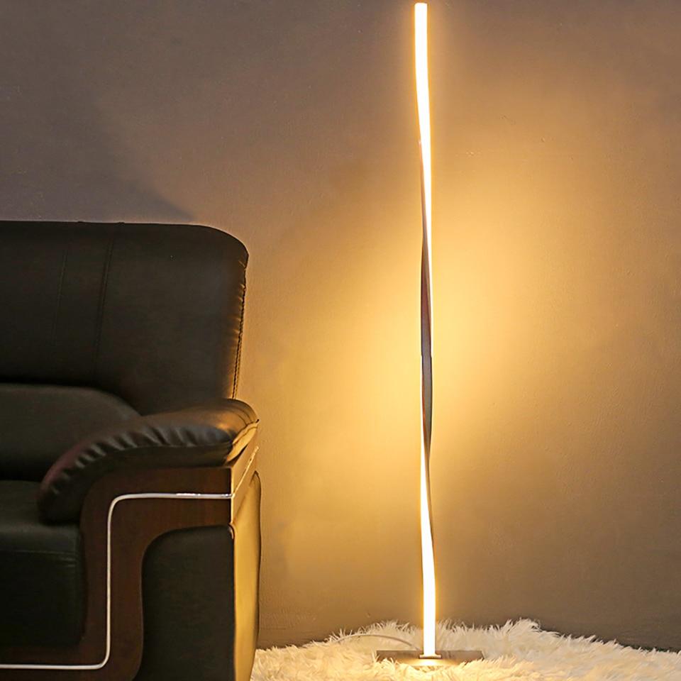 Lámpara LED de pie para salas de estar moderna Luz de suelo Luz de pie para dormitorios Oficina luminosa regulable contemporánea de 48 pulgadas