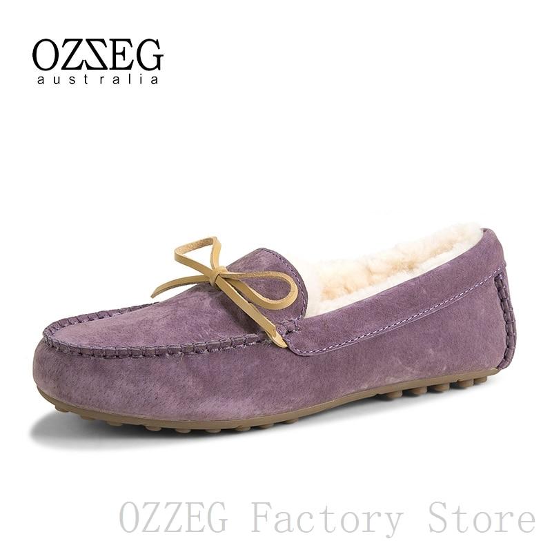 OZZEG Luxury Brand Designer Shoes Women Winter Real Leather Flats Australia Sheep Fur Loafers Ladies Shoe Female Footwear Purple