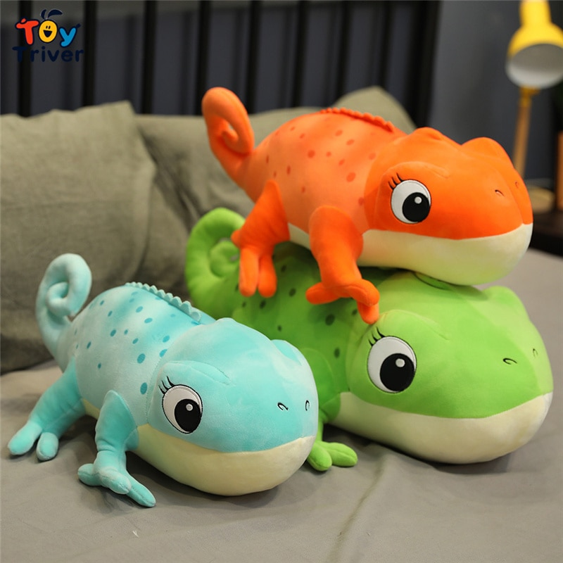 Gecko Chameleon Lizard Iguana Plush Toy Triver Stuffed Wild Animals Doll Pillow Cushion Kids Boy Birthday Gift Home Shop Decor