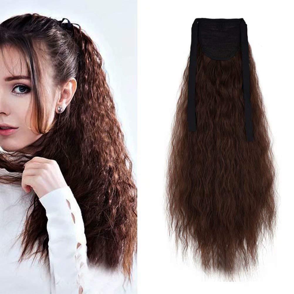 Extensión de cola de caballo de cinta con Clip de onda de maíz para mujeres, peluca sintética, Pelo Rizado ondulado largo, cola de Pony esponjosa de 17 y 22 pulgadas