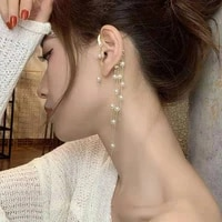 in 2021 han edition fashion earrings imitation pearl long tassels recreational style ear clip charm of women present gift