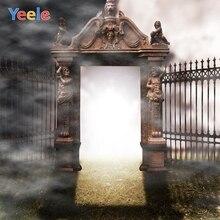 Yeele Halloween Backdrop Gate Night Fog Castle Custom Vinyl Photography Background For Photo Studio Photocall Photobooth Props