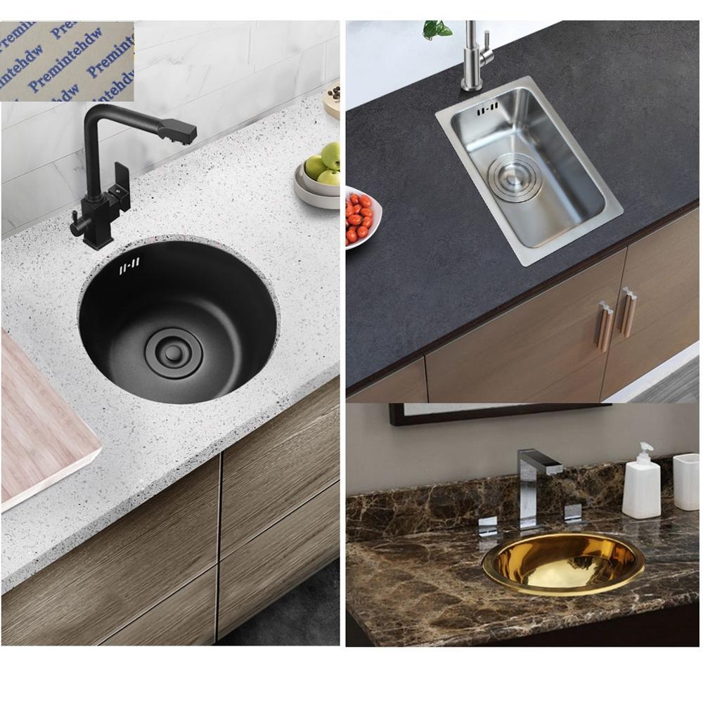 حوض مطبخ بيضاوي الشكل من الفولاذ المقاوم للصدأ 304 ، غير لامع ، أسود ، ذهبي ، مصقول للغاية ، دائري ، قضيب ، مقطورة ، يخت ، قافلة