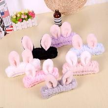 Beautiful rabbit ear headbands for women coral girls watch washing turban face elastic make-up bands