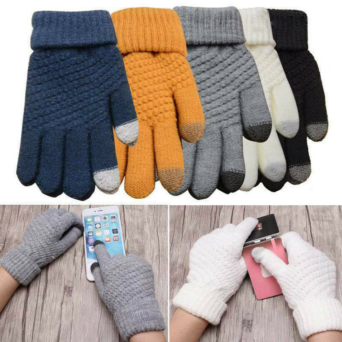 Unisex Men Women Classic Gloves Touch Screen Winter Warm Wool Knitted Plain