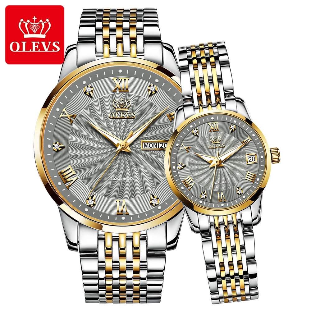 Couple Watch OELVS Brand Luxury Automatic Mechanical Watch Stainless Steel Waterproof Clock relogio