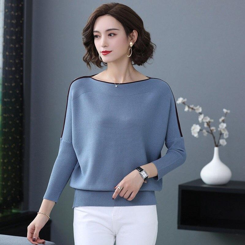 Loose outono meia manga feminino pulôver camisola casual azul topos feminino plus size malha coréia suéteres senhoras fina puxar topo