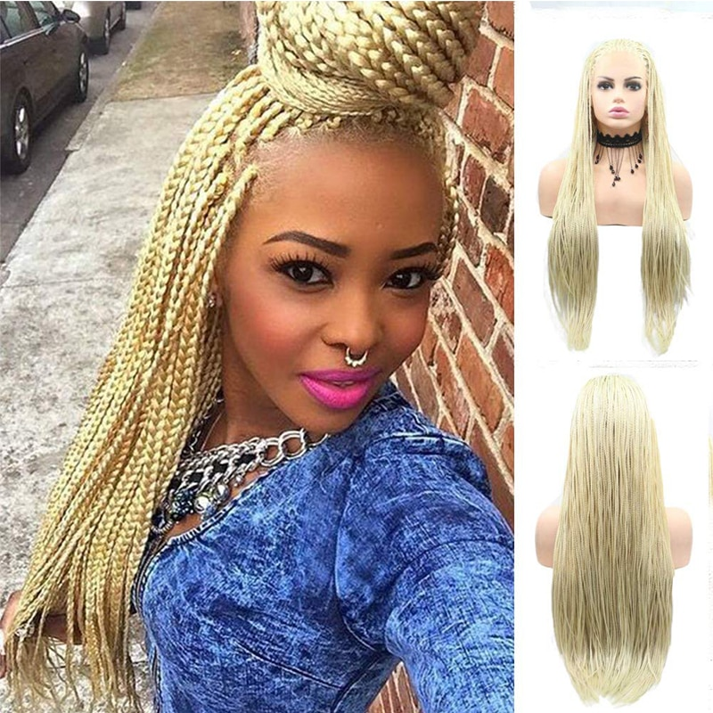 Micro Braided Gold Blonde 613 Long Synthetic Hair Lace Front Wigs for Black Women Replacement Wigs with Baby Hair Braided Wigs
