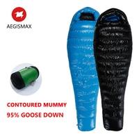 AEGISMAX G1 Sleeping Bag Goose Down Adult Ultralight Design Splicing Thermal Winter Camping Travel Equipment Mummy Sleeping Bag