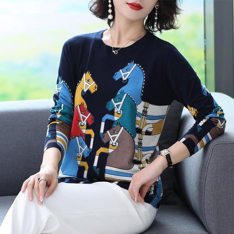 Suéter de punto de moda para mujer Otoño Invierno jersey de manga larga dibujo de caballo estampado patrón Bottoming Thin Jumper tapas 2020