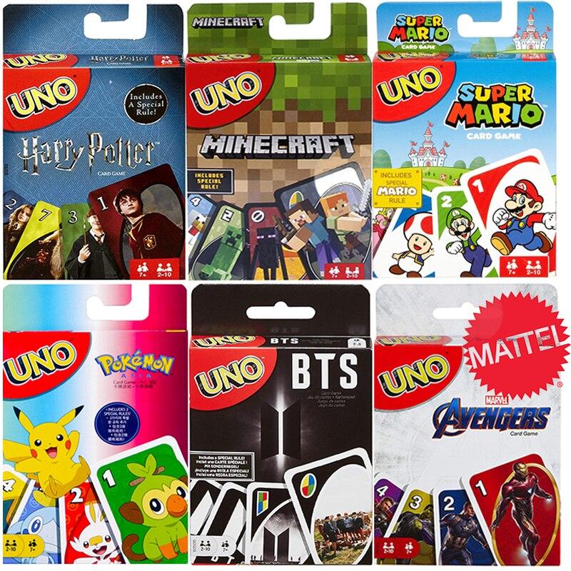 Mattel Uno Avengers Bts Harri Potter Pokemon Uno Entertainment Board Poker Cards Game for Kids Christmas Halloween Gift Toys