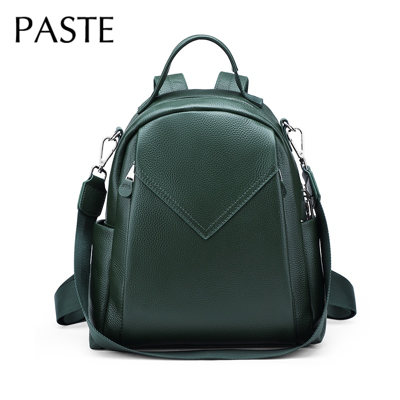Luxo 100% genuíno couro de vaca mochila feminina para viagens lazer sacos ombro grande verde preto cinza diário bagpack