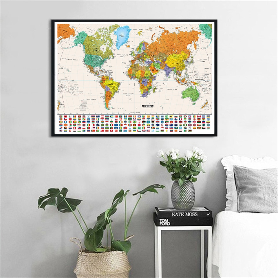 90*60 Cm The World Map with National Flags Vintage Poster Canvas Painting Wall Decor Home Decoration Children School Supplies