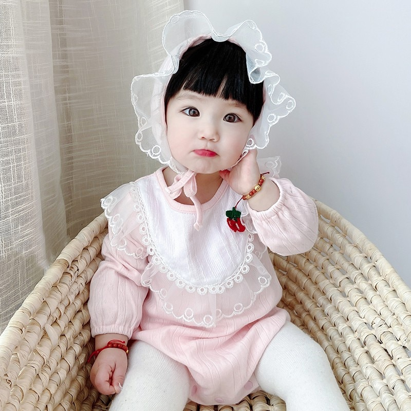 Children's Clothing 2021 Spring And Autumn Baby's One-piece Clothes Sakura Lace Baby's Hooded Triangle Hat Baby's Clothes