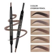 1 Pc 5 couleurs Double-fin crayon à sourcils imperméable durable pas de floraison rotatif Triangle sourcil Tatoo stylo facile à porter TSLM2