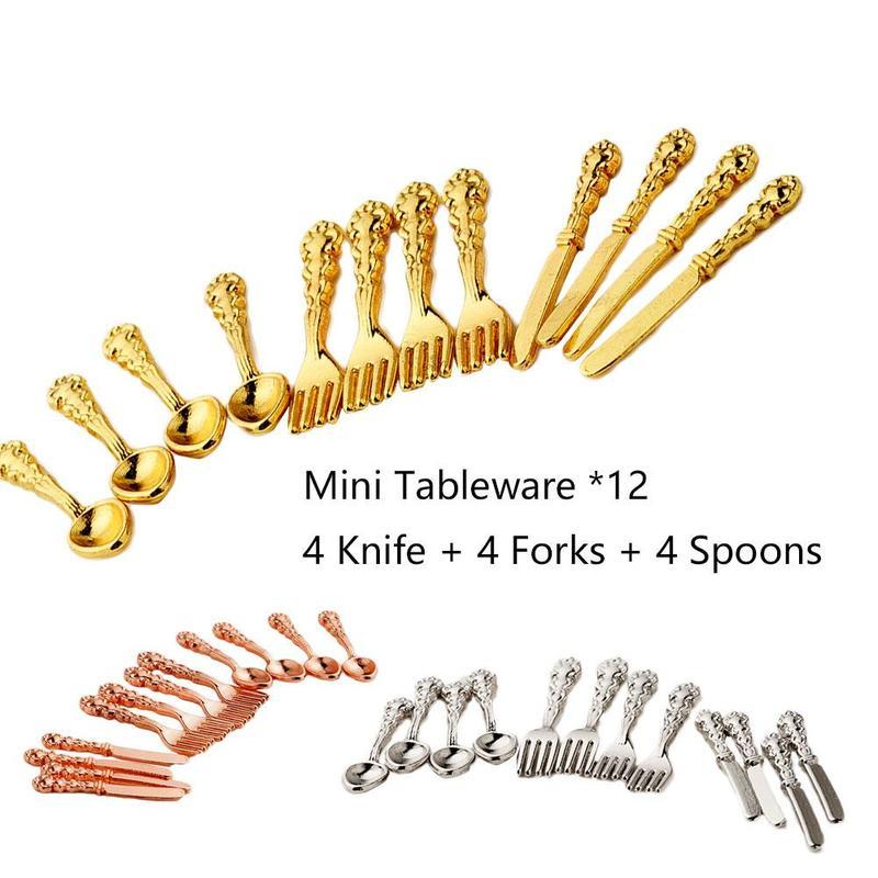 12pcs/set New Mini Cutlery Knife Fork Spoon Childrens Dollhouse Miniatures Toy 3colors House Tableware Decor Vintage F1U5