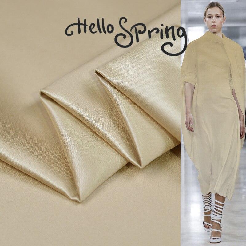 Color crema liso teñido 140cm de ancho 48Momme 68% seda 32% algodón Charmeuse tela vestido marca de diseño de tela Diy costura envío gratis
