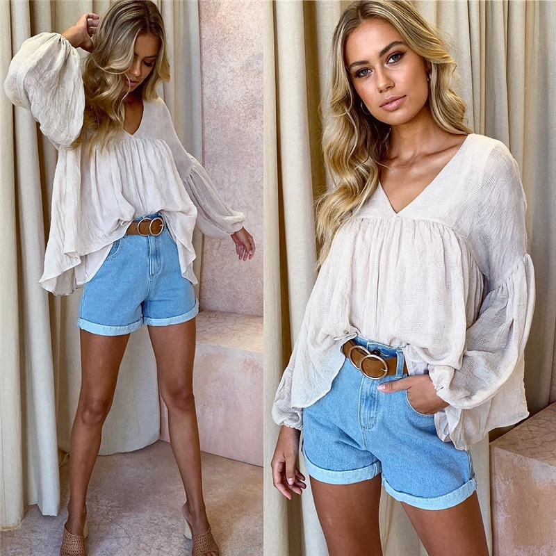 Apricot Casual  Women Tops and Blouse Autumn Clothing Flare Long Sleeve V-neck Loose Chiffon Blouse Office Lady Shirt Streetwear