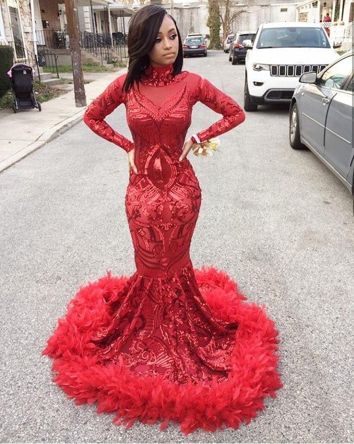 Burgundy Evening Dresses Pretty V-Neck Mermaid Sequined Formal Dresses Women Elegant Party Gowns 2020 HB007