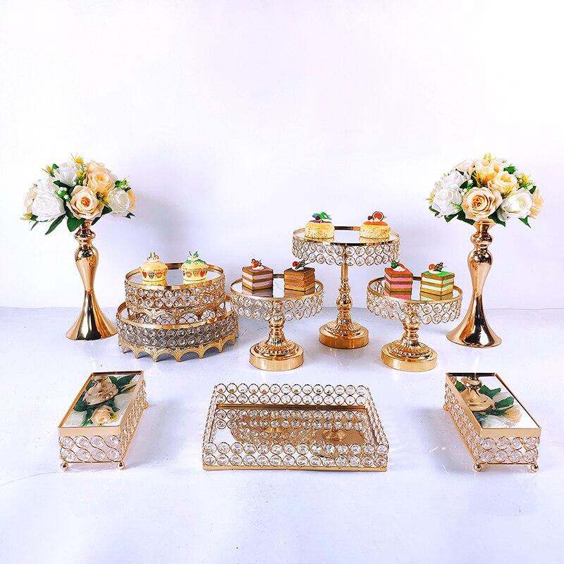 10 قطعة كعكة الكريستال مجموعة أرفف المرايا المعدنية كب كيك رف تزيين الحلوى رف حفل زفاف عرض كعكة صواني